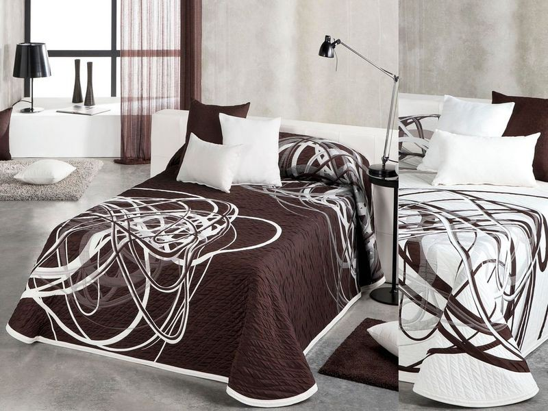 charming dessus de lit marron 2 literie haut gamme. Black Bedroom Furniture Sets. Home Design Ideas