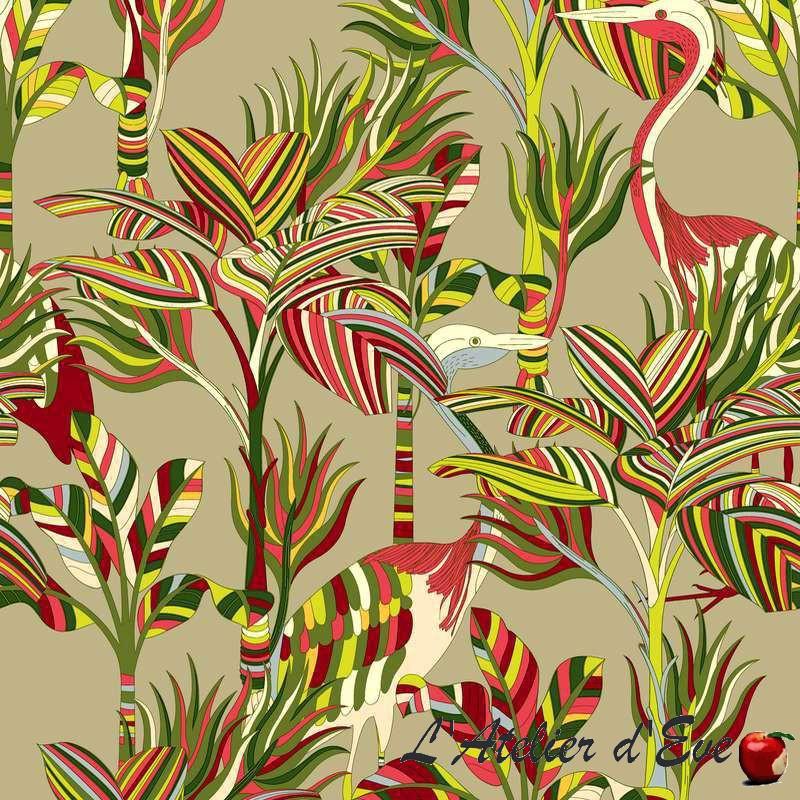 """Florida"" Tissu rouge coton grande largeur motif exotique Thevenon"