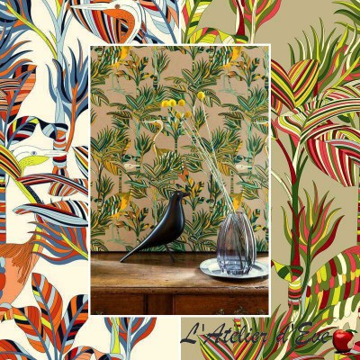 """Florida"" cotton fabric great width exotic Thévenon"