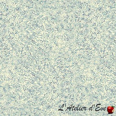 """""""L'eclosion"""" Tissu bleu coton fleuri Thevenon"""