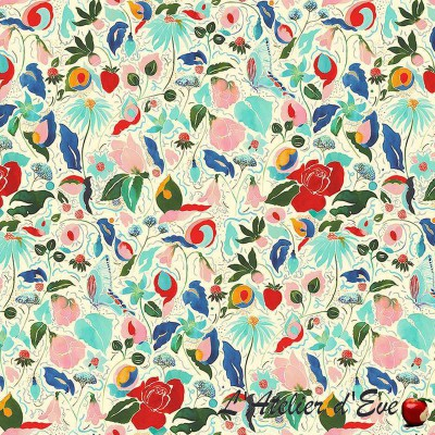 """Hatching"" flowery cotton fabric Thévenon"