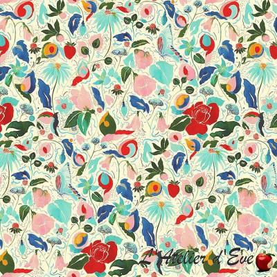 """""""La danse florale"""" Tissu coton fleuri Thevenon"""