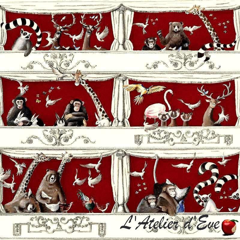 """""""Tous au théâtre"""" Tissu rouge coton animaux et enfant Thevenon"""