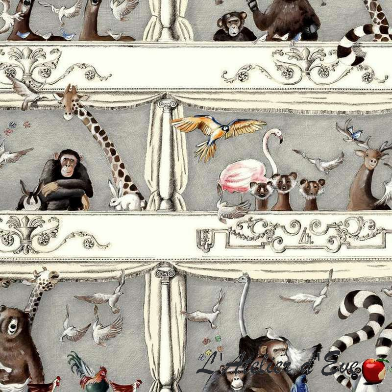 """Rideau Made in France """"Tous au théâtre"""" animaux/enfant Thevenon"""