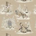 """Snow reindeer"" cotton Fabric wide width theme mountain Thevenon"