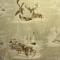 """Snow reindeer"" linen Canvas mountain Thevenon"