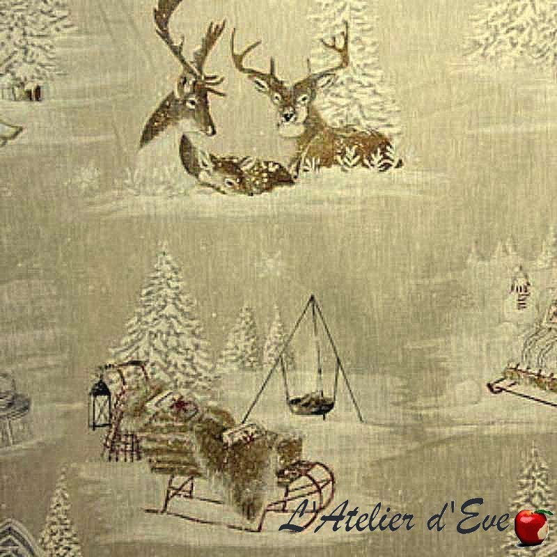 """Snow reindeer"" cotton Fabric wide width theme mountain Thevenon"