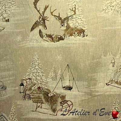 """Snow reindeer"" Linen curtain mountain Made in France Thevenon"