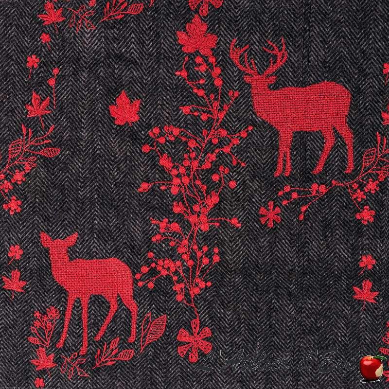 Fournisseur de tissu de noël et montagne, tissu gris Forest Friends de Thevenon