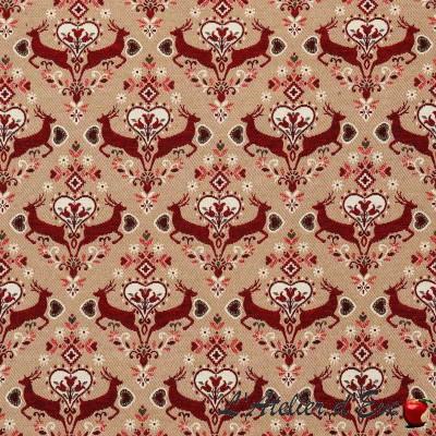 """""""Saut en hiver"""" Tissu rouge jacquard montagne Thevenon"""