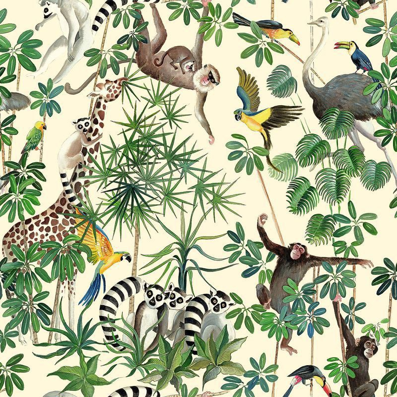 la jungle des animaux tissu ameublement coton pour enfant. Black Bedroom Furniture Sets. Home Design Ideas