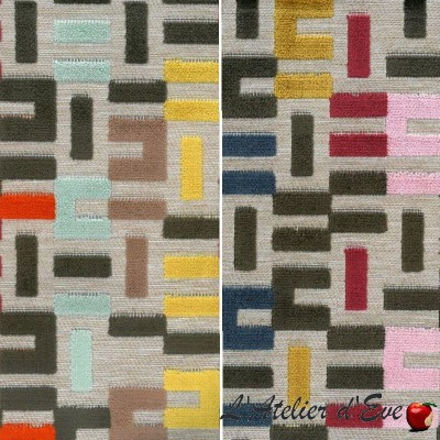 """Italiano"" Discount 30% Roll fabric velvet upholstery Thevenon Piece / half-piece"