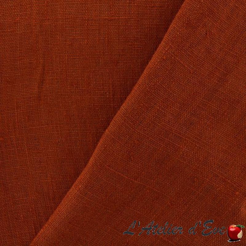 Lin lavé safran - Tissu ameublement 100% lin uni pas cher