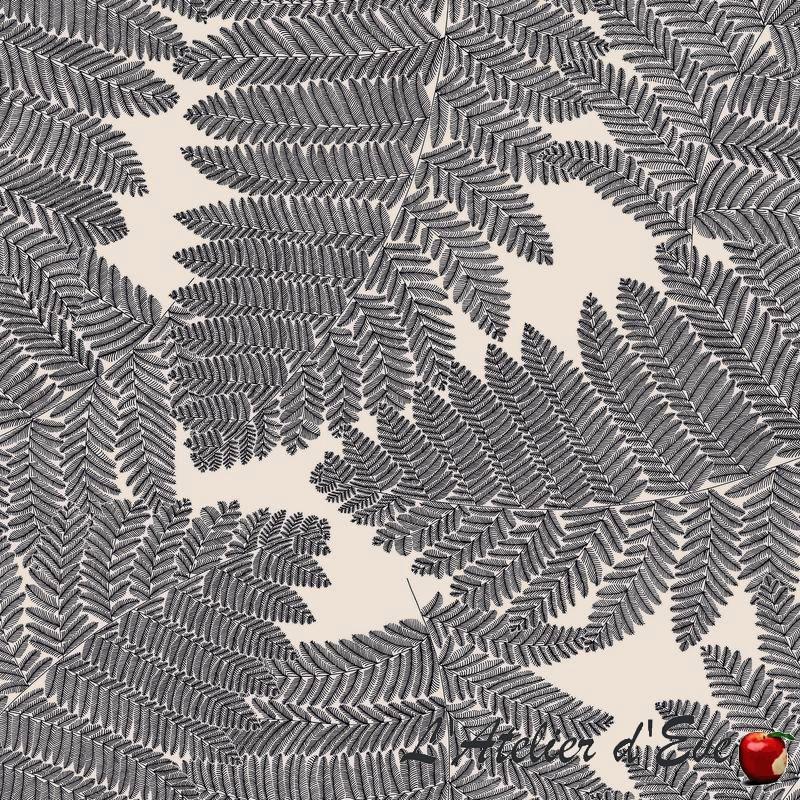 Tissu coton en grande largeur gris Wood de Thevenon Paris
