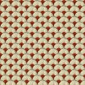 """Papyrus"" red Coupon cotton fabric Thevenon"