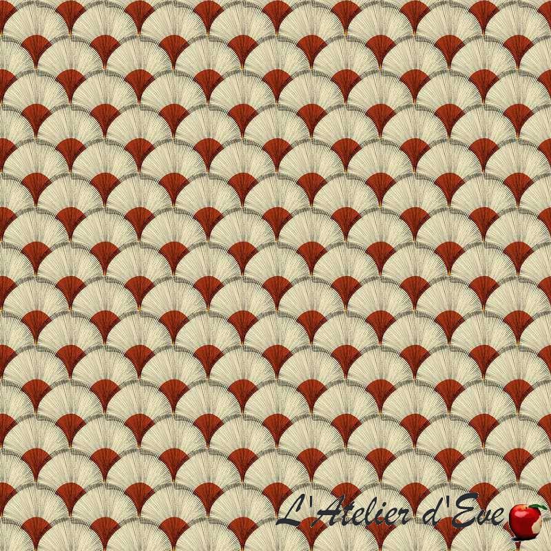 """Papyrus"" Tissu rouge coton imprimé africain Thevenon"