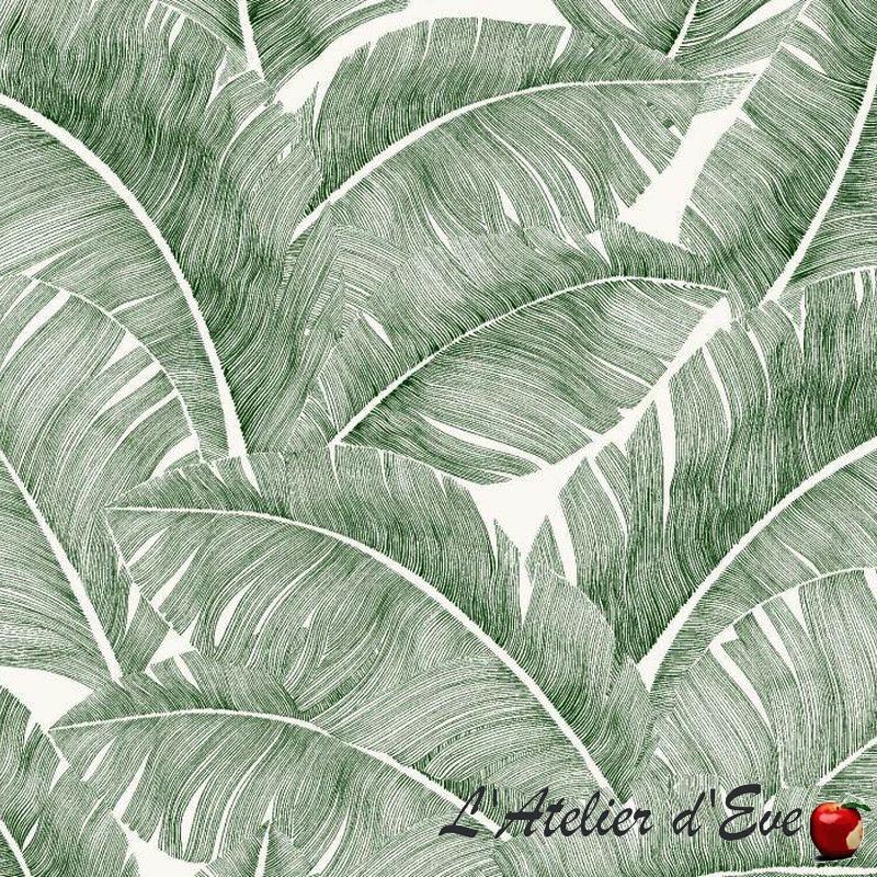 Totem Tissu vert ameublement coton Thevenon