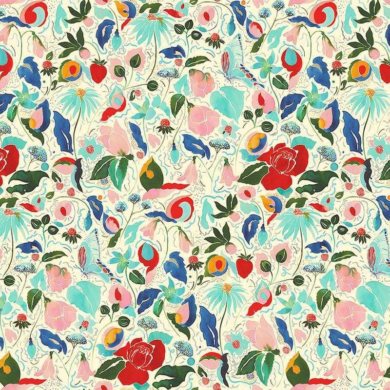 tissu enduit fleuri au m tre la danse florale de thevenon. Black Bedroom Furniture Sets. Home Design Ideas