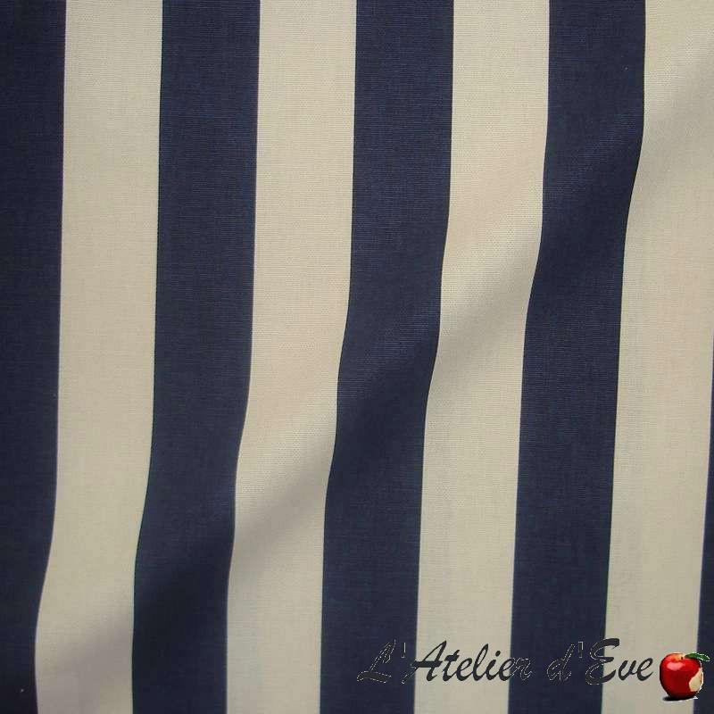 """Transat"" rayure marine et blanc Tissu enduit nappe Thevenon"
