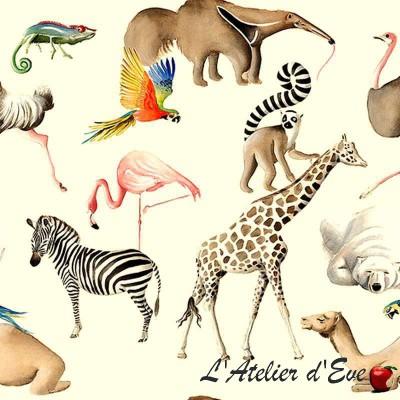 """Tous au zoo"" Nappe enduite Made in France Thevenon"
