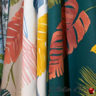 Sunset: Rideaux à oeillets sur mesure motif feuilles par Thevenon Paris