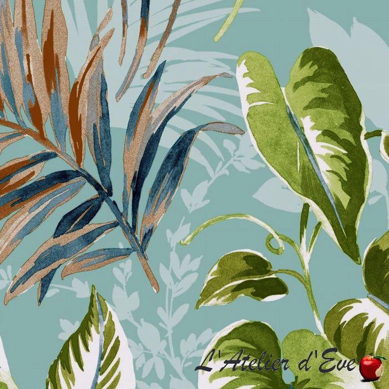"""""""Girolata"""" Tissu coton bleu grande largeur Thevenon"""