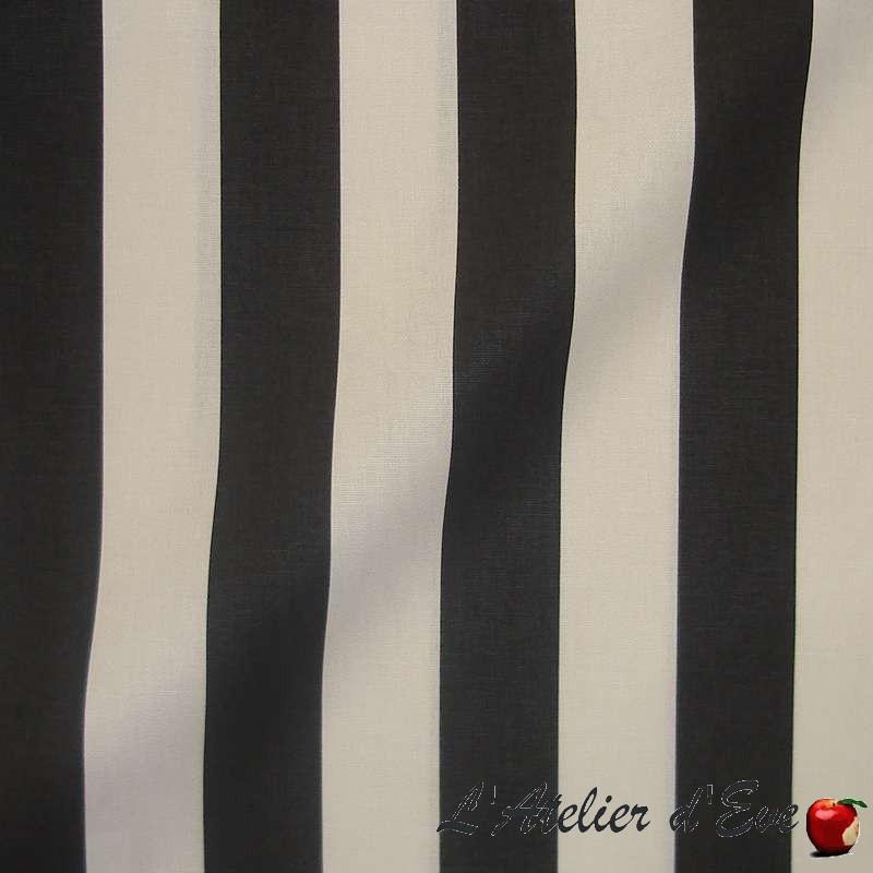 Transat - Tissu ameublement coton grande largeur rayure bicolore noir/crème Thevenon