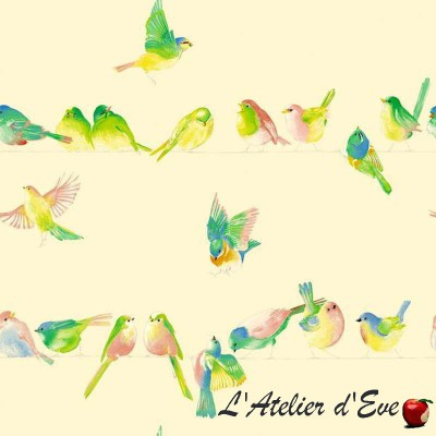 """Happy birds"" Coupon 140x280cm tissu ameublement Thevenon"