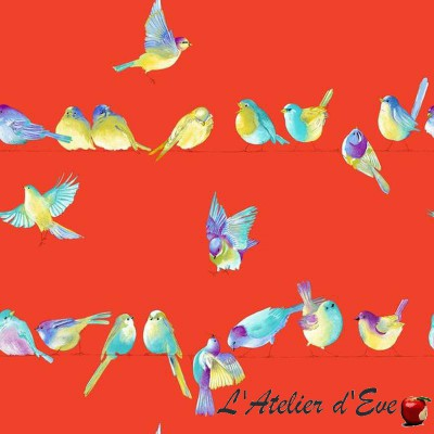 """Happy birds"" Coupon 100x280cm tissu ameublement Thevenon"