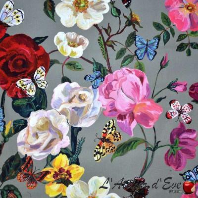 """Villa des roses"" Coupon percale ameublement Thevenon"