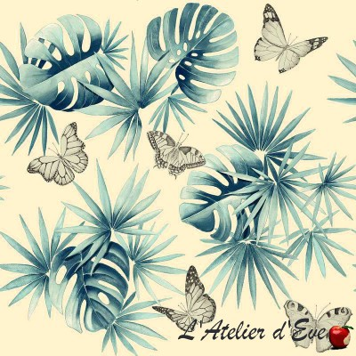 """""""L'île aux papillons"""" Coupon 100x280cm tissu ameublement Thevenon"""