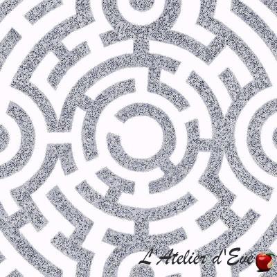"""""""Labirinto"""" Tissu coton bleu grande largeur Thevenon"""