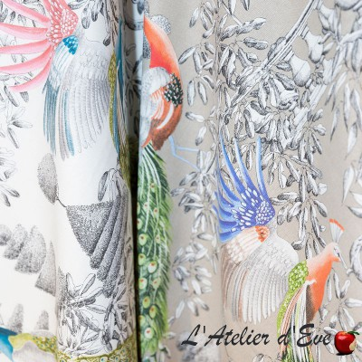 """Jardin merveilleux"" Tissu coton bleu grande largeur Thevenon"