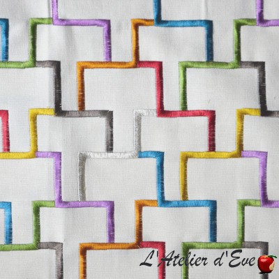 """Tetris"" Embroidered curtain Made in France Thevenon"