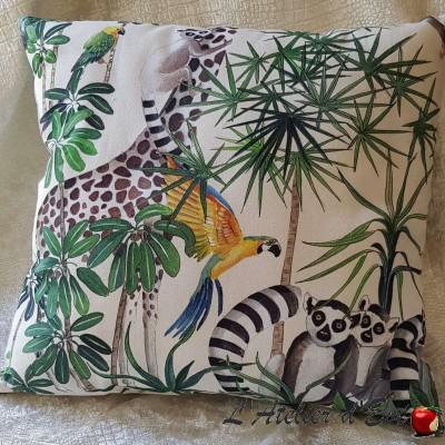 Cushion Made in France fabric furniture Thévenon Tropical Klang