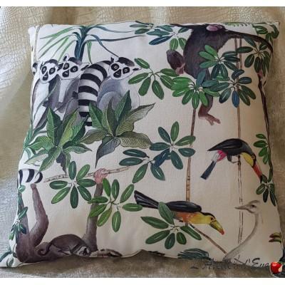 Cushion Made in France fabric furniture Thévenon jungle animals