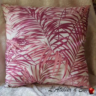 Coussin Made in France tissu ameublement Thevenon Palm springs rose