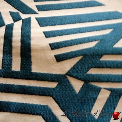 """Arkane"" Coupon 100x140cm tissu ameublement bleu canard Thevenon"