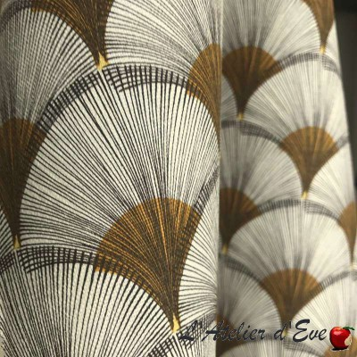 """Papyrus"" jaune Coupon 100x280cm tissu ameublement Thevenon"
