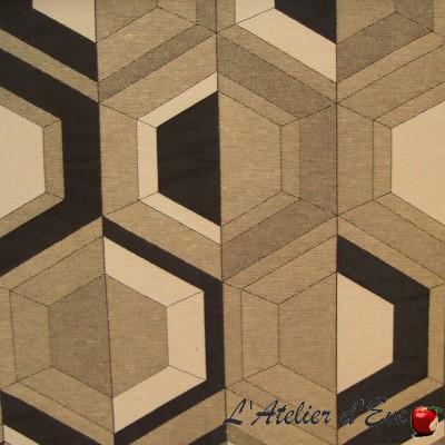 """""""Double vue"""" noir Coupon 150x140cm tissu ameublement Thevenon"""