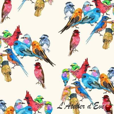 """Volière"" Tissu coton oiseaux Thevenon"