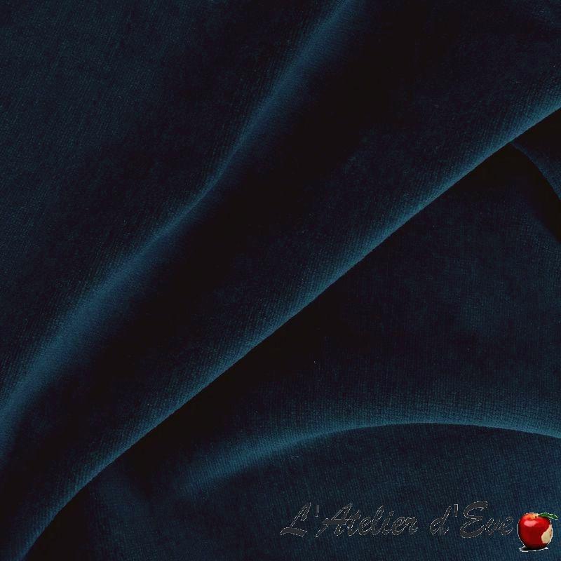 """Ermellino"" Tissu velours bleu nuit uni Casal"