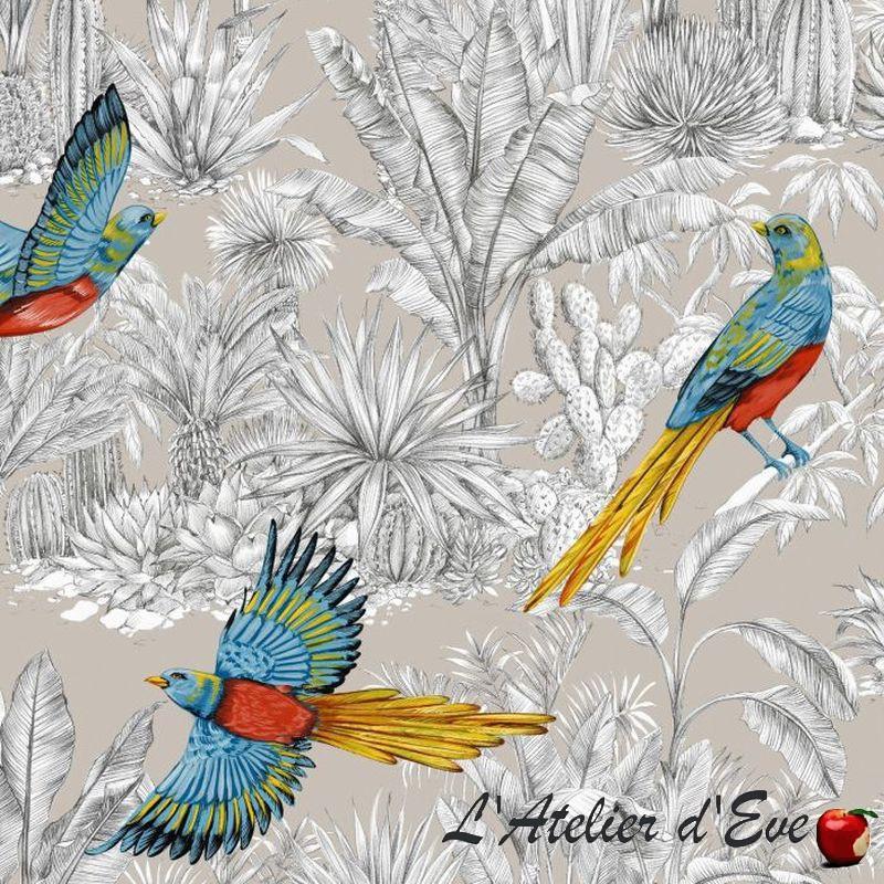 """""""Oiseau de paradis"""" Toile de coton ficelle grande largeur Thevenon"""
