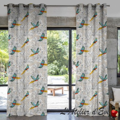 """Bird of paradise"" Thevenon wide-width cotton canvas"