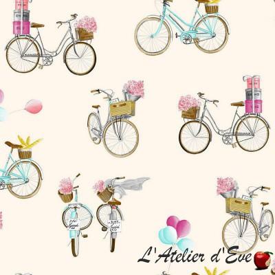 """A Bicyclette"" Coupon 65x110cm tissu ameublement coton Thevenon"