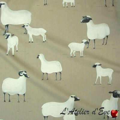 """On a cloud"" Coupon 65x100cm cotton upholstery fabric Thevenon"