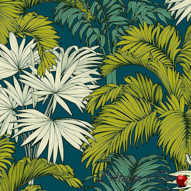 """""""Coco"""" jaune fond lagon Tissu coton fleuri grande largeur Thevenon"""