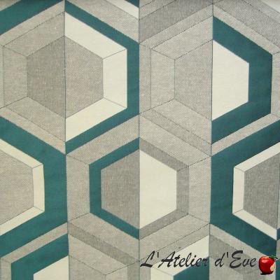 """Double vue"" turquoise Coupon 100x140cm tissu ameublement Thevenon"