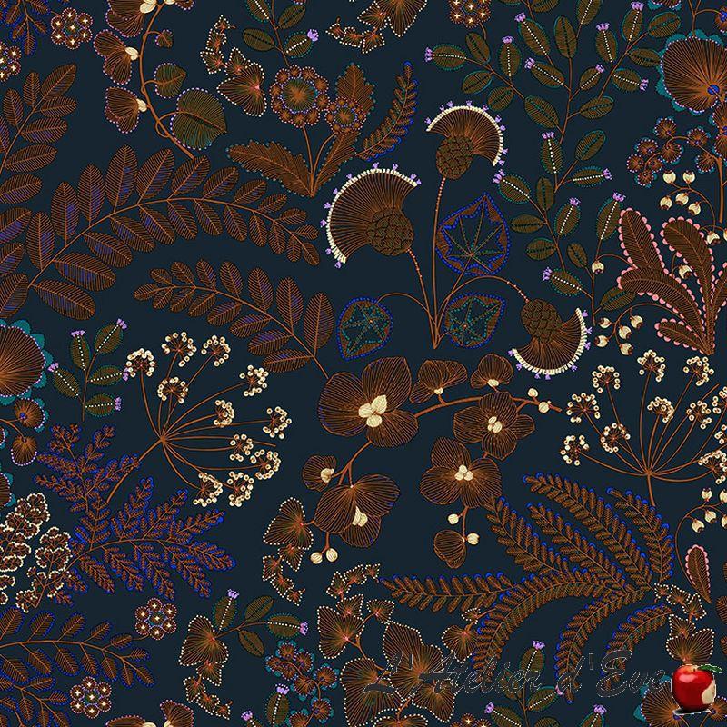 """Phoenix"" Tissu bleu coton Thevenon"