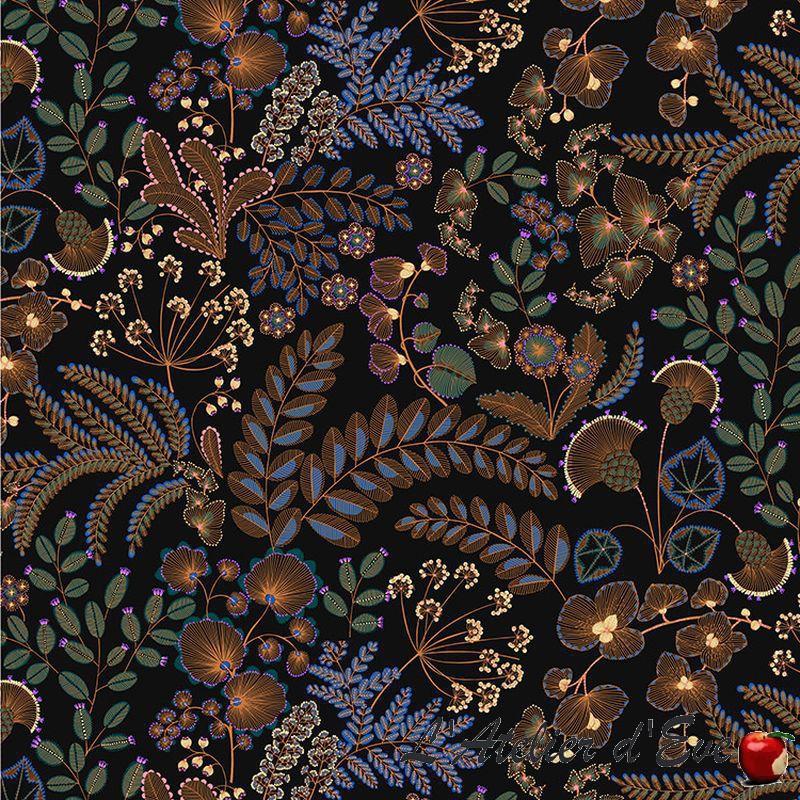 """Phoenix"" Tissu noir coton Thevenon"